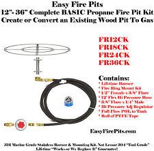 """FR12CK: DIY BASIC PROPANE FIRE PIT KIT & 12"""" DOUBLE RING 316 STAINLESS BURNER"""