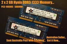 2 x 2GB DDR3 1333MHz PC3-10600S PC-10600 SODIMM MEMORY 4GB for Apple Mac & Other