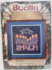Bucilla Festival of Lights Shalom Needlepoint Picture Kit Hanukkah 1993 #60718