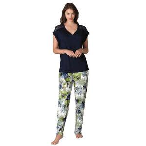 Damen Schlafanzug Pyjama Nachtwäsche Zweiteiliger Lange Hose Sommer-Set 66697