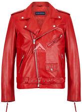 Chaqueta de Cuero para Hombre Perfecto Rojo Brando chaqueta motociclista Motocicleta Estilo Napa srmbf