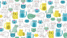 KITTY Cute Cats 100% Cotton fabric Makower Size 55 cm x 50 cm larger available