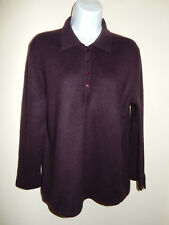 MAG 100% CASHMERE PURPLE 5 BUTTONS COLLAR 3/4 SLEEVES SLITS ON CUFFS SWEATER L
