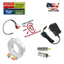 High Sensitive Microphone RCA Audio Mic DC Power Cable For CCTV Security System