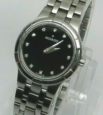 Womens Authentic Swiss MOVADO Metio Diamond Dial Black Face Stainless Watch