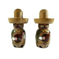 Vintage Wood Salt And Pepper Shakers Mexico Men Sombrero Hat Mariachi UNUSED