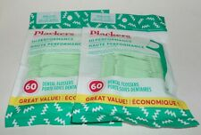 PLACKERS Dental Flossers MINT Hi-Performance Freshens Breath 60 ct/Package x 2