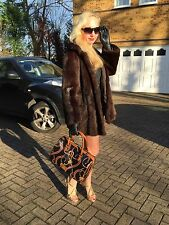 Fabulous Sable Mink Colour Real Ranch Fur Coat Jacket Classic Style