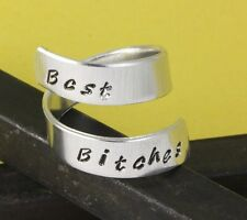 Best Bitches Wrap Twist Ring Best Friends Gift Adjustable Aluminum Ring