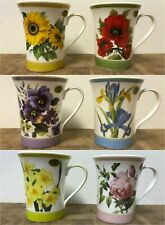 Flowers Set of 6 Coffee Mugs Tea Cups - Daffodil Poppy Rose Iris Pansy Sunflower