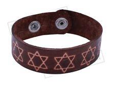 Israel Star of David Leather Bracelet Judaica Protection Wristband Holyland Gift