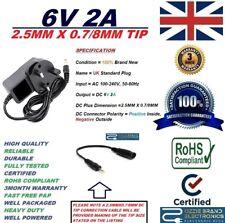 UK 6 V 2 A AC100-240V Adattatore Alimentatore 50/60Hz 2.5MMX0.7/8MM 2.5X0.7/8 DC Punta