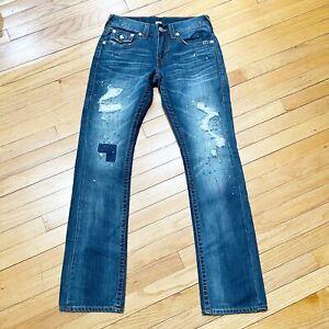 True Religion Stright Fit Distressed Flap Pockets Jeans Men's 29x33 EUC