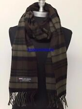 New 100% CASHMERE SCARF Check Plaid Scotland Soft Warm Wool Brown/Oliver/Black