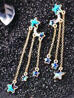 Betsey Johnson Earrings Stars Gold  Blue Gift Box Organza Bag