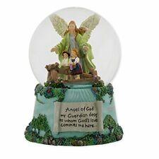 Roman Guardian Angel and Children 100Mm Musical Water Globe Plays Tune Jesus.