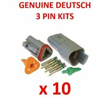 10 X Deutsch 3 Pin Connector Kits With Terminals Male Female Plugs Waterproof