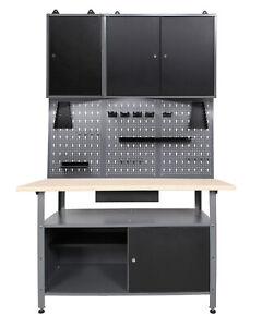 Ondis24 Werkstatt Set 120 cm Werkbank Metall Werkzeugschrank Lochwand Haken LED