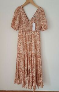 Forever New Midi Paisley Shirred Dress Size Eur 38