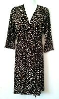 NEW WOMEN'S ATTENTION BROWN PRINT 3/4 SLEEVE STRETCHY WRAP DRESS SIZE M NWT