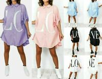 Women's Love Print Baggy Oversized Collared Buttons Up T-Shirt Dress Top Fashion