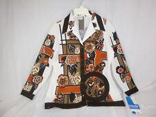 NWT Vtg 60s Brookvalley Fairfield MOD Floral Print Polyester Shirt Blouse SZ 40