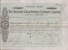 Venezuela 1884 The Nacupai Gold Mining Company Ltd £500 100 shares Uncancelled