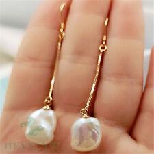 14X10mm White Long Section Baroque Pearl Earrings 18k Hook Mesmerizing Jewelry