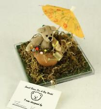 LE World Of Miniature Bears APRIL SHOWERS Flowerpot Toy Teddy Bear Diorama