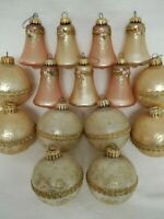 15 Vintage Krebs Glitter Bell Round Ball Glass Christmas Ornaments Pink Gold Wht
