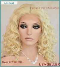 Lace Front Medium Curly Wig Blond 613  Sassy Sexy Hot  USA Seller 1190