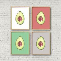 Set of 4 Avocado Print, Food , Tropical Fruit Kitchen Printable Wall Art Decor P