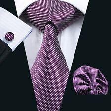 Classic Purple Mens Tie Plaids Checks 100% Silk Necktie Set Hanky Cufflinks C950