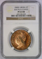 1868 E Two Cent LIBERIA Proof Copper Pattern KM-PN16 ~ NGC PF63 PR 63 RB