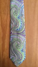 Countess Mara Tie Green/Purple/Blue Paisley 100% Silk Hand Made 60% OFF