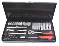 "47pc 1/4"" Drive Socket Set 4 - 13mm Hex Torx Pozi Flat Deep Dr. Ext Bars"