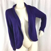 Chico's Womens Size 1 Open Front Soft Wool Mohair Blend Purple Sweater Cardigan