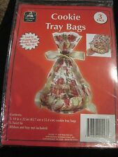 CHRISTMAS HOUSE 3-PACK COOKIE TRAY BAGS FOR WRAPPING GIFTS BASKETS FLOWERS PLANT