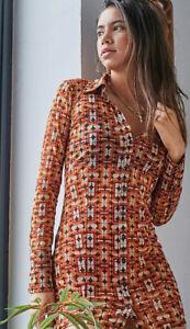 Urban Outfitters Sharon 70s Geo Button-Through Mesh Shirt Dress Size S/ RRP £49