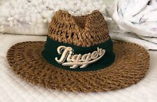 """Vintage Walt Disney World Straw Hat Green Band """"TIGGER"""" Medium Raffia"""