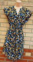 H&M YELLOW BLUE ABSTRACT SPOTTED BELTED SHORT SLEEVE A LINE SHIFT DRESS 10 12