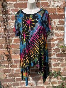 Ladies hippie/boho/alternative Stretchy tie dye top/dress free size