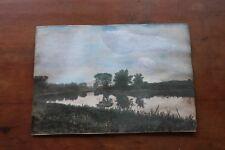 """Antique Painting English Landscape School Constable Tempera Gouache 8 X 5 3/4"""""""