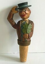 Anri Vintage Mechanical Hand Carved Wooden Cork Bottle Stopper Italy Label