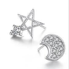 925 Silver Earrings Zircon Stars Moon Ear Stud Elegant woman Fashion Jewelry