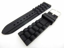 Black Strap Band for Seiko Watches Silicone Rubber 22mm