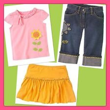NWT 5 5T Gymboree SUNFLOWER FIELDS 3pc PINK TOP gold Bubble Skirt Cuffed Capris