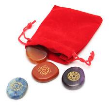 7pcs Engraved Crystal Reiki Energy Chakra Stones Palm Stones Healing