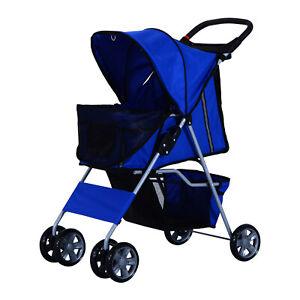 Pet Stroller Buggy Transporter Storage Basket Cup Holder Cat Dog Travel Carrier