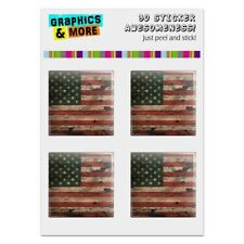 Rustic American USA Flag Distressed Computer Case Modding Badge Stickers Set